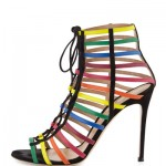 Gianvito Rossi for Mary Katrantzou Strappy Suede Caged Sandal, Rainbow